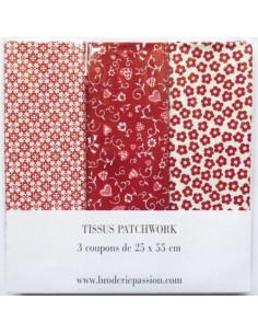 Lot de 3 coupons de tissus - rouge et blanc