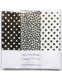 Lot de 3 coupons de tissus - noir et blanc