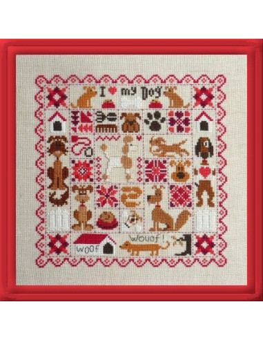 Jardin priv patchwork aux chiens cross stitch chart for Jardin prive