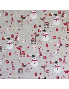 Tissu aspect lin - Bonhomme de neige et renne
