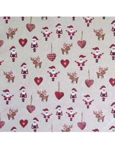 Tissu aspect lin - Père-Noël et coeurs
