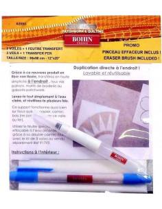 BOHIN - 3 voiles non tissés 30 x 50 cm + 1 feutre transfert