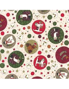 Tissu Patchwork pour Noël - beige avec grands motifs multicolores