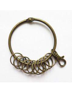 Grand porte-clés avec anneaux - bronze antique