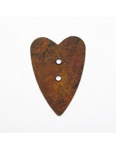 Bouton coeur rouillé - 26 mm