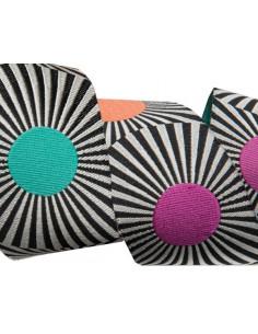 Ruban rayé noir avec pois multicolores - 38 mm