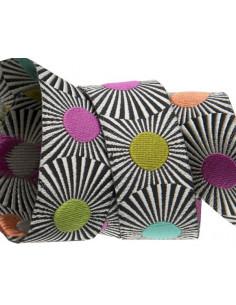 Ruban rayé noir avec pois multicolores - 22 mm