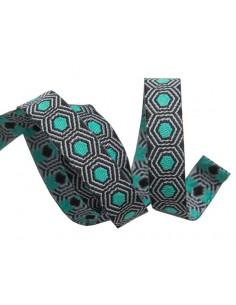 Ruban hexagones vert menthe sur fond noir - 10 mm
