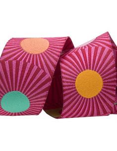 Ruban rayé rose avec pois multicolores - 38 mm