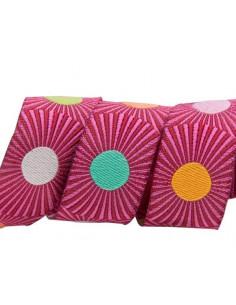 Ruban rayé rose avec pois multicolores - 22 mm