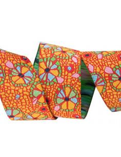 Ruban mosaïque florale multicolore - 22 mm