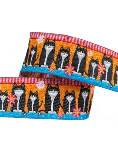 Ruban chats noirs sur fond orange - 22 mm