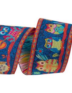 Ruban chouettes multicolore - 38 mm