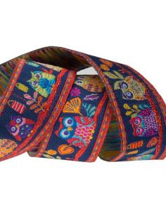 Ruban chouettes multicolore - 22 mm