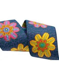 Ruban grandes fleurs multicolore - 38 mm