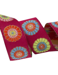 Ruban fleurs multicolore - 16 mm