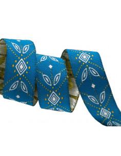 Ruban losanges bleu - 16 mm