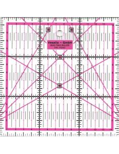 Règle pour le patchwork carrée de 15 x 15 cm - rose