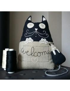 L'Atelier d'Éole - Cale-porte Le chat filou et sa souris - kit de couture
