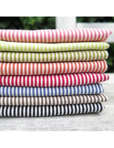 Coupons de tissu jersey rayé en coton - 20 x 50 cm