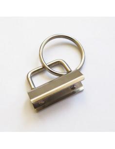 Fermoir pour porte-clés ruban avec anneau - 32 mm - argenté