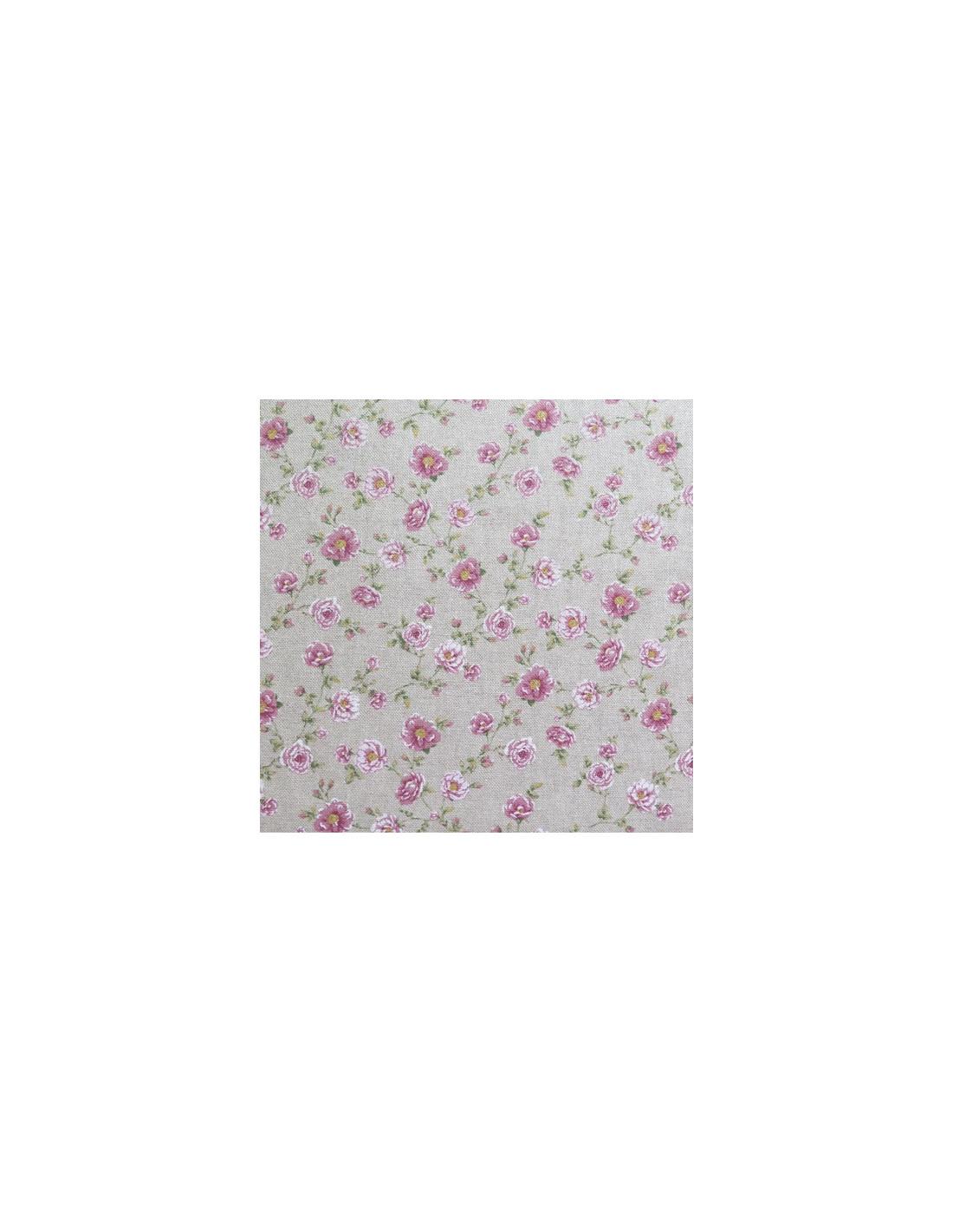 tissu au m tre en coton aspect lin avec motifs fleuris. Black Bedroom Furniture Sets. Home Design Ideas