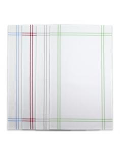 Linge / Torchon à broder ISA Graziano, blanc avec lignes vertes, grises, rouges ou bleues