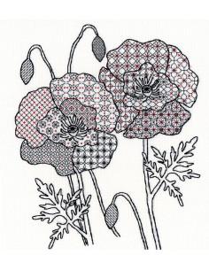 Kit de Blackwork - Poppy de Bothy Threads