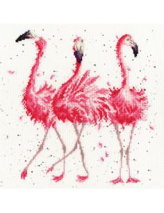 Flamand rose point de croix - kit Bothy Threads Pink Ladies
