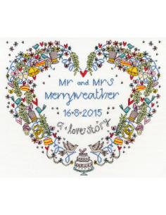 Kit de point de croix compté - Wedding Heart de Bothy Threads