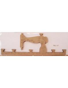 Cintre en bois - Machine à coudre - 17 cm de large - beige