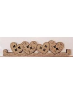 Cintre en bois - 4 coeurs - 11.5 cm de large - beige