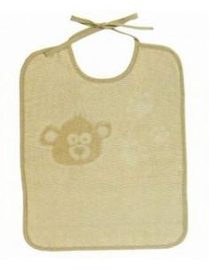 DMC - Bavoir 6 mois - éponge beige avec ours