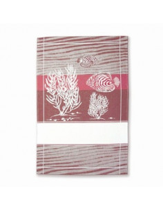 Graziano - Linge/Torchon - Poissons - rouge bordeaux