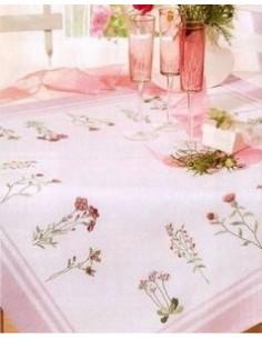 Nappe Rico - nappe blanc cassé avec bordures roses
