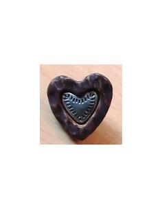Bouton coeur bois métal 13 mm
