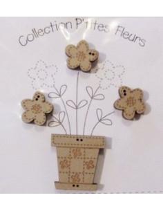 Lot de 3 boutons en bois - Pot de fleur