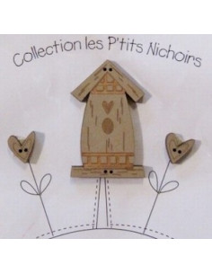 Lot de 3 boutons en bois - Nichoir naturel - grand