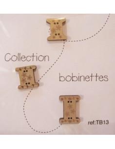 Lot de 3 boutons en bois - Bobinettes