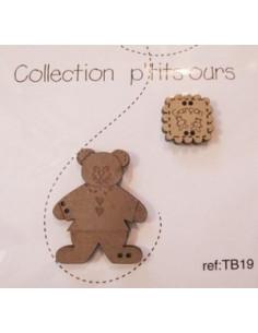 Lot de 2 boutons en bois - Petit ours garçon