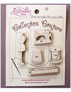 Lot de boutons en bois - Collection Couture - bois ivoire
