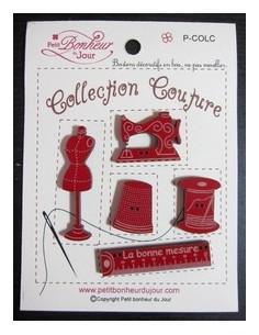 Lot de boutons en bois - Collection Couture - bois rouge