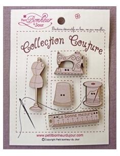 Lot de boutons en bois - Collection Couture - bois sépia