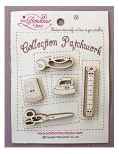 Lot de boutons en bois - Collection Patchwork - bois ivoire