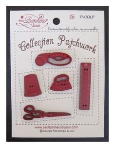 Lot de boutons en bois - Collection Patchwork - bois rouge