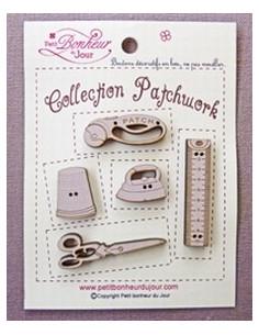 Lot de boutons en bois - Collection Patchwork - bois sépia