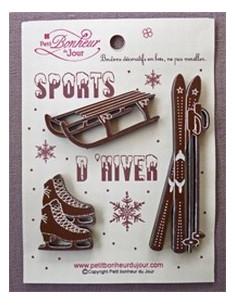 Lot de boutons en bois - Sports d hiver - bois brun