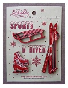 Lot de boutons en bois - Sports d hiver - bois rouge