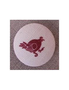 Bouton Coq rouge sur écru 1