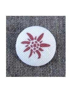 Bouton Edelweiss rouge sur écru
